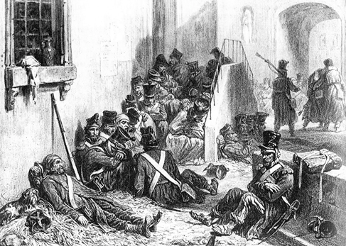 """""""Typhus de Mayence"""". Erkrankte und sterbende französische Soldaten in Mainz 1813/14"""